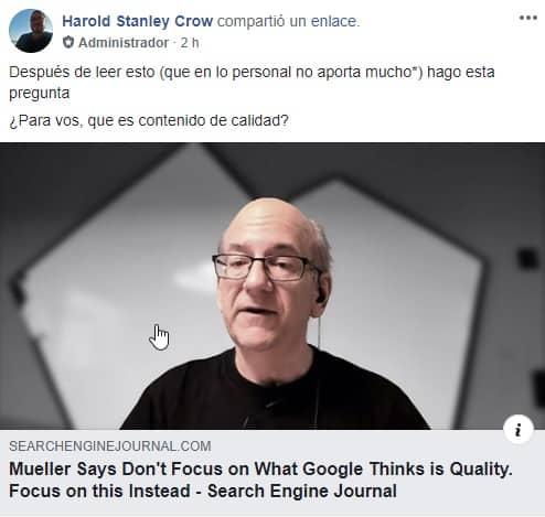 pregunta en grupo de FB