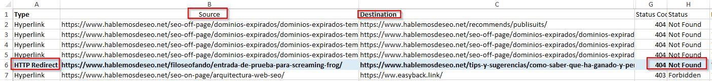 screenshot excel con errores 404 y sus inlinks - ejemplo
