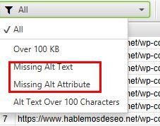 filtrar imagenes sin alt text