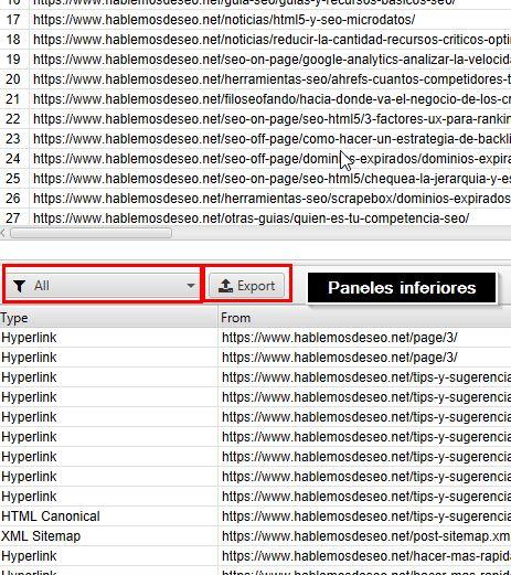 lower window data export - boton export