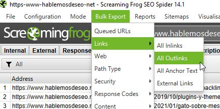 screaming frog - bulk export - all outlinks