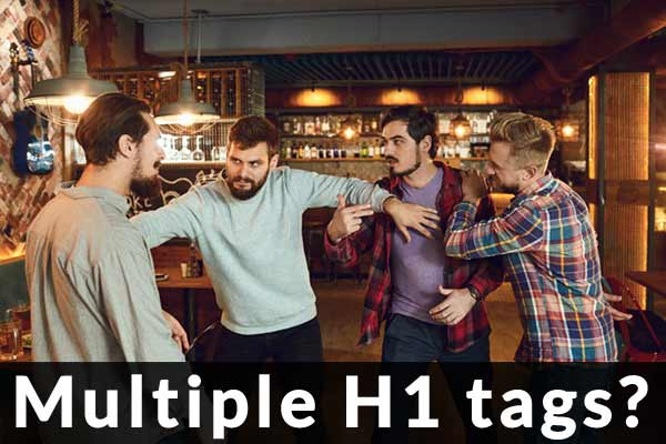 Bar Fight Meme de SEOs luchando por etiquetas de encabezado H1